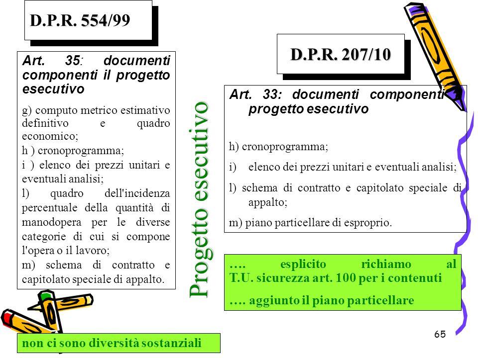 Progetto esecutivo D.P.R. 554/99 D.P.R. 207/10