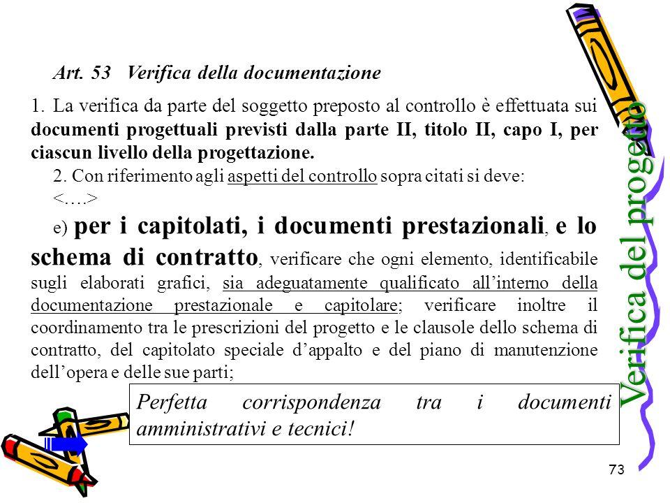 Art. 53 Verifica della documentazione