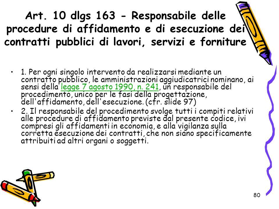 Art. 10 dlgs 163 - Responsabile delle procedure di affidamento e di esecuzione dei contratti pubblici di lavori, servizi e forniture