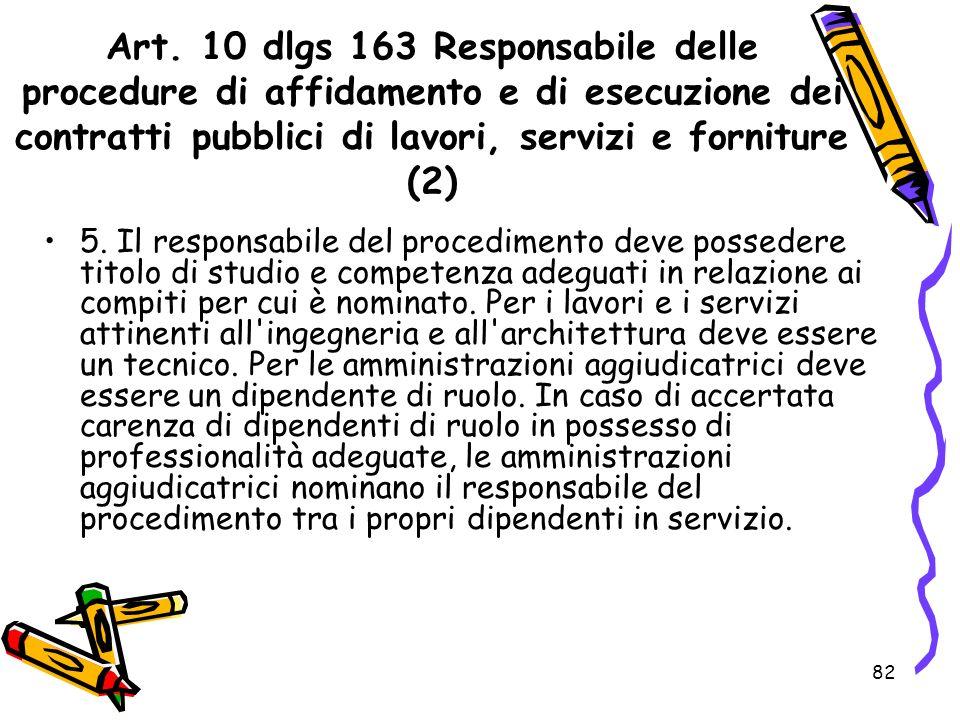 Art. 10 dlgs 163 Responsabile delle procedure di affidamento e di esecuzione dei contratti pubblici di lavori, servizi e forniture (2)