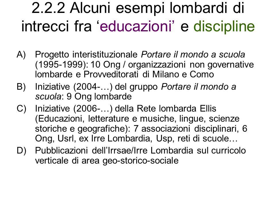 2.2.2 Alcuni esempi lombardi di intrecci fra 'educazioni' e discipline