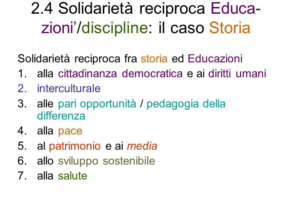 2.4 Solidarietà reciproca Educa-zioni'/discipline: il caso Storia