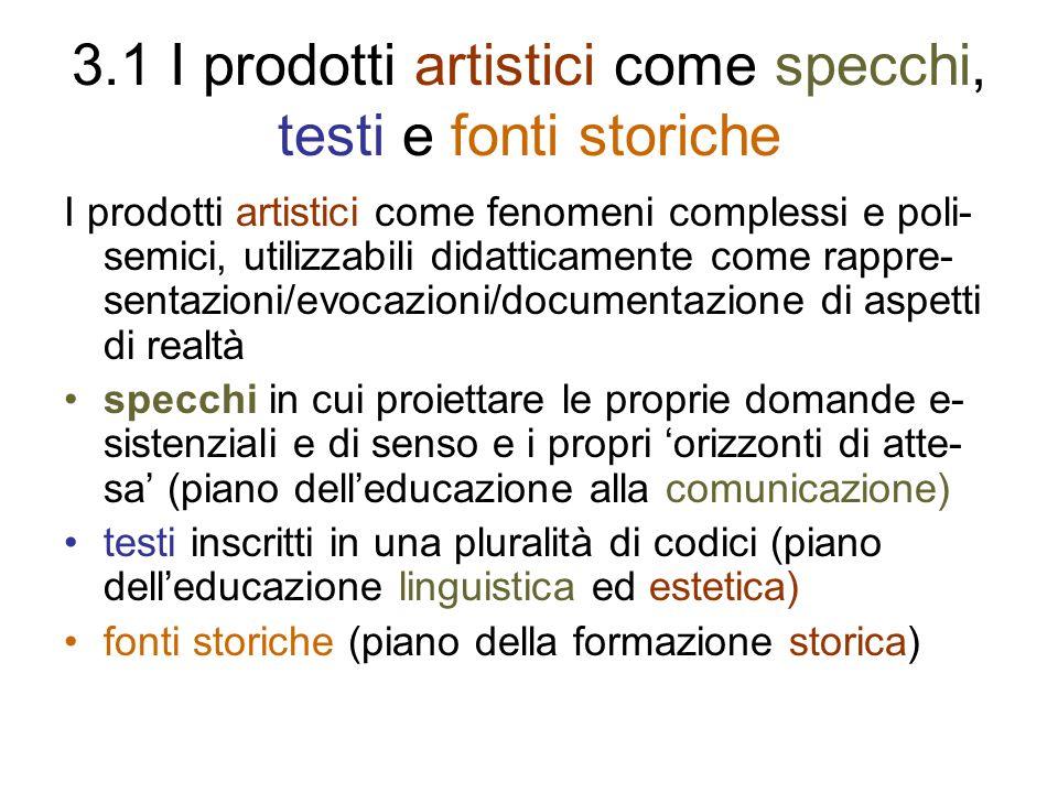 3.1 I prodotti artistici come specchi, testi e fonti storiche