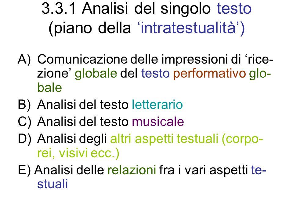 3.3.1 Analisi del singolo testo (piano della 'intratestualità')