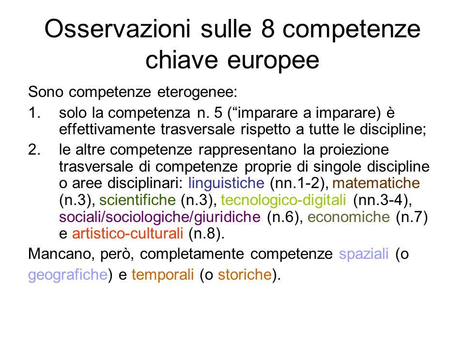 Osservazioni sulle 8 competenze chiave europee