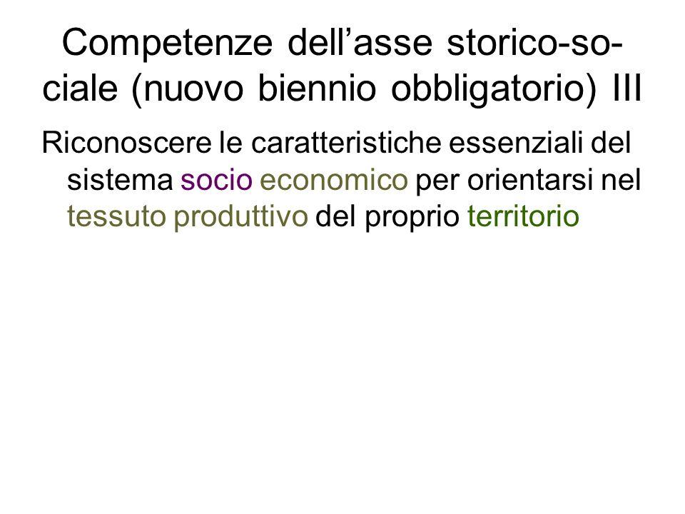 Competenze dell'asse storico-so-ciale (nuovo biennio obbligatorio) III