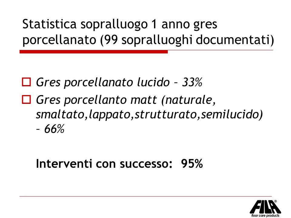 Statistica sopralluogo 1 anno gres porcellanato (99 sopralluoghi documentati)