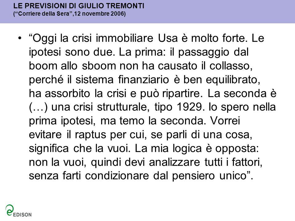 LE PREVISIONI DI GIULIO TREMONTI ( Corriere della Sera ,12 novembre 2006)