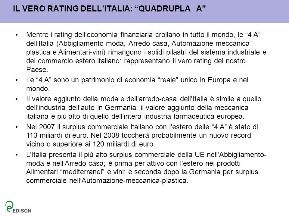 IL VERO RATING DELL'ITALIA: QUADRUPLA A