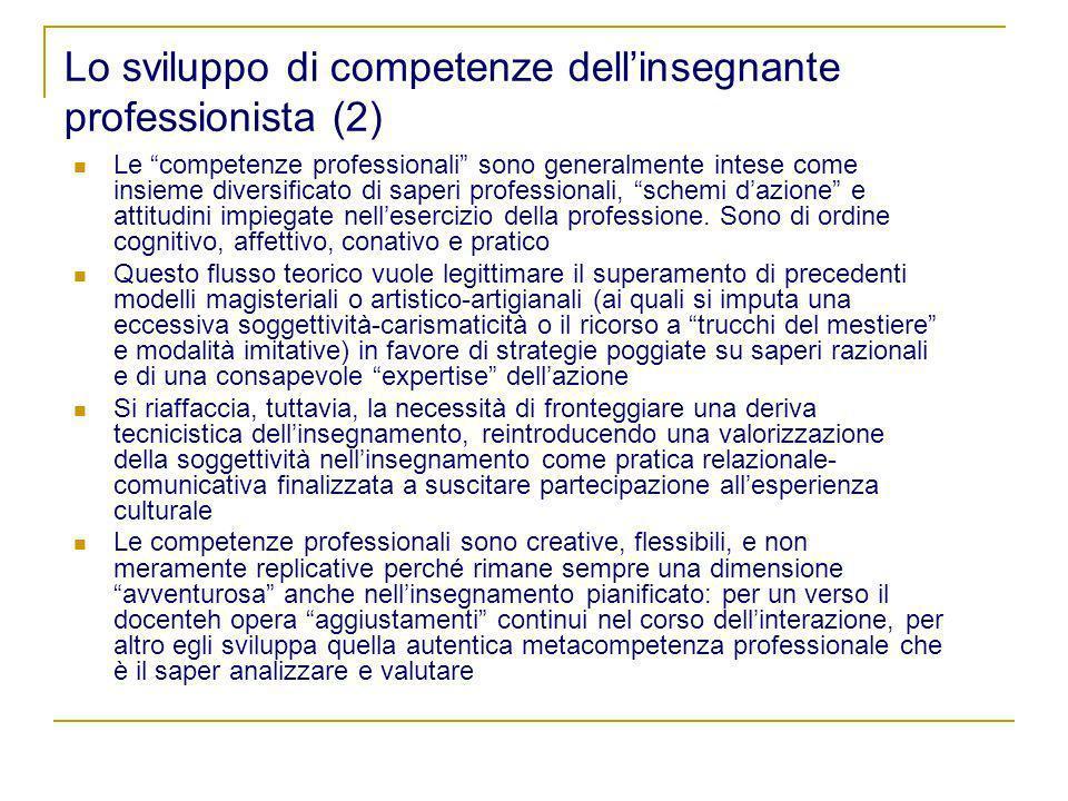 Lo sviluppo di competenze dell'insegnante professionista (2)