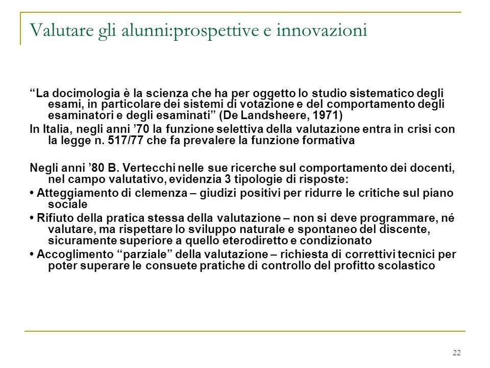 Valutare gli alunni:prospettive e innovazioni