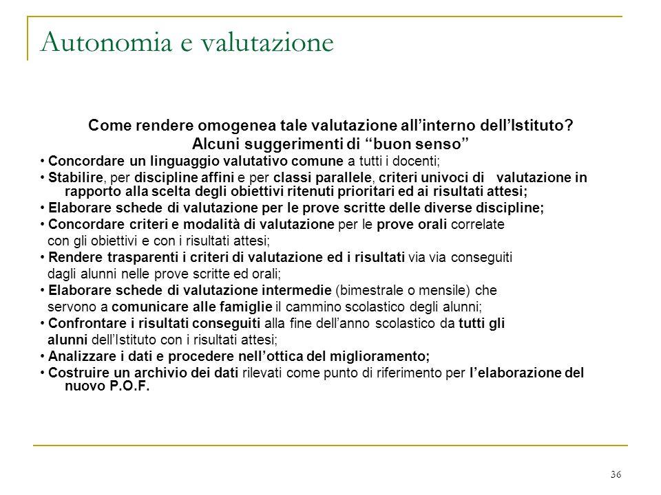 Autonomia e valutazione
