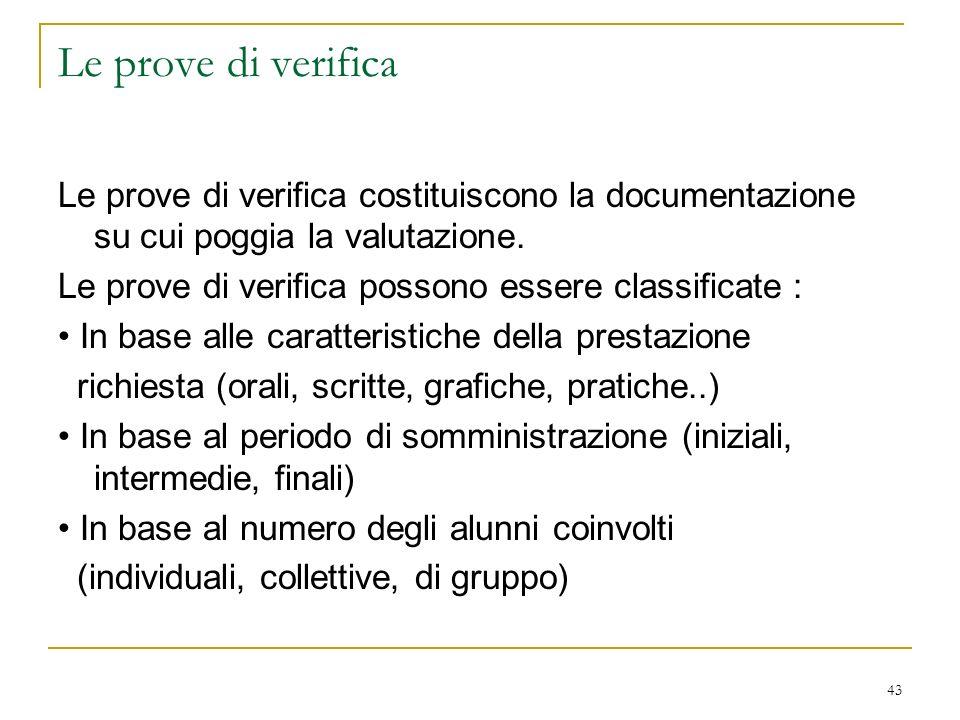 Le prove di verifica Le prove di verifica costituiscono la documentazione su cui poggia la valutazione.