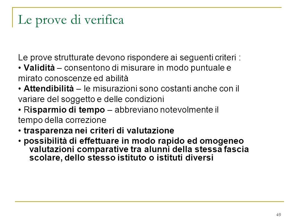 Le prove di verifica Le prove strutturate devono rispondere ai seguenti criteri : • Validità – consentono di misurare in modo puntuale e.