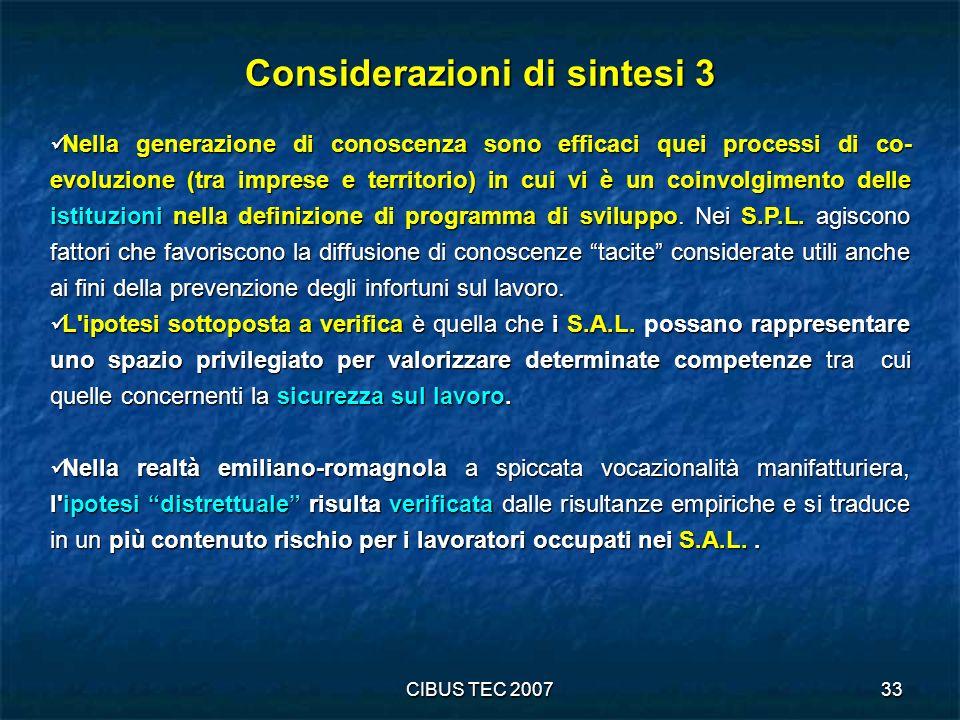 Considerazioni di sintesi 3