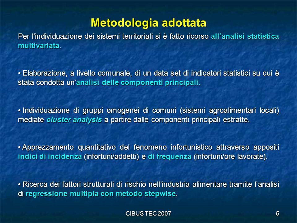 Metodologia adottata Per l'individuazione dei sistemi territoriali si è fatto ricorso all'analisi statistica multivariata.
