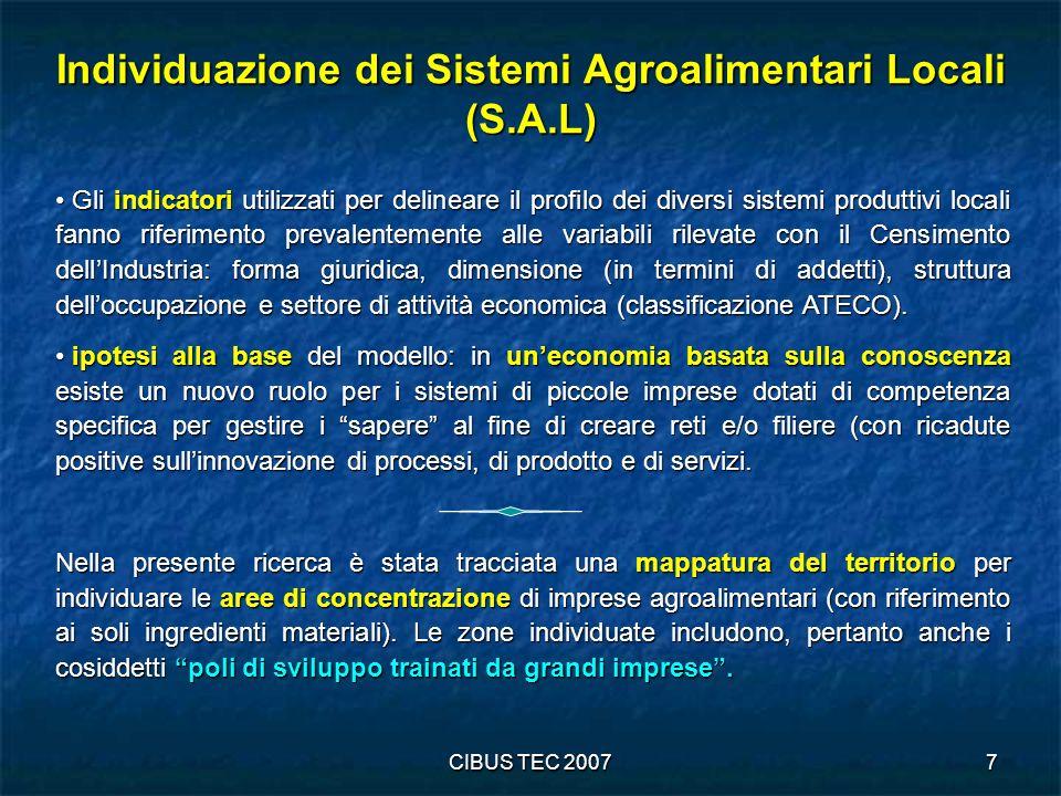 Individuazione dei Sistemi Agroalimentari Locali (S.A.L)