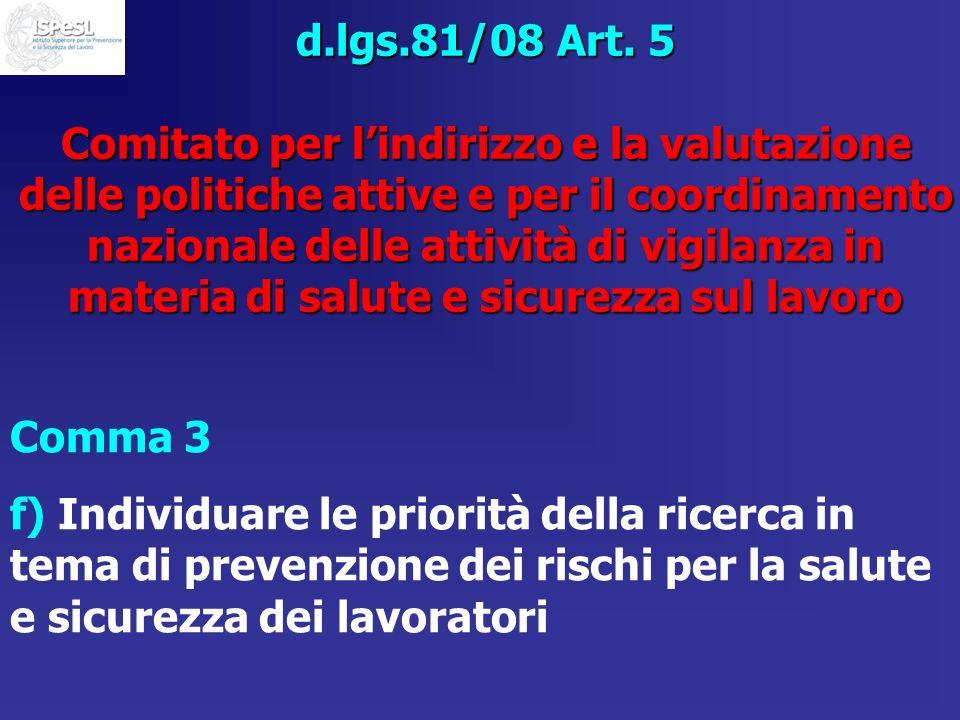 d.lgs.81/08 Art. 5 Comitato per l'indirizzo e la valutazione delle politiche attive e per il coordinamento nazionale delle attività di vigilanza in materia di salute e sicurezza sul lavoro