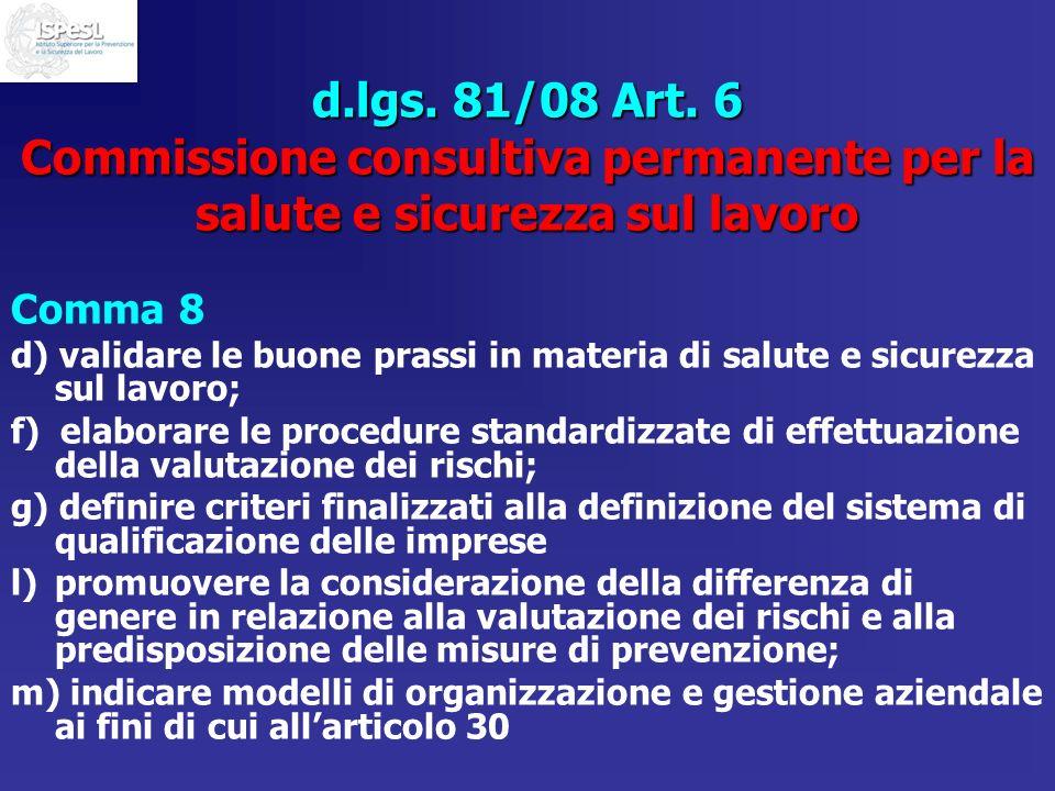 d.lgs. 81/08 Art. 6 Commissione consultiva permanente per la salute e sicurezza sul lavoro