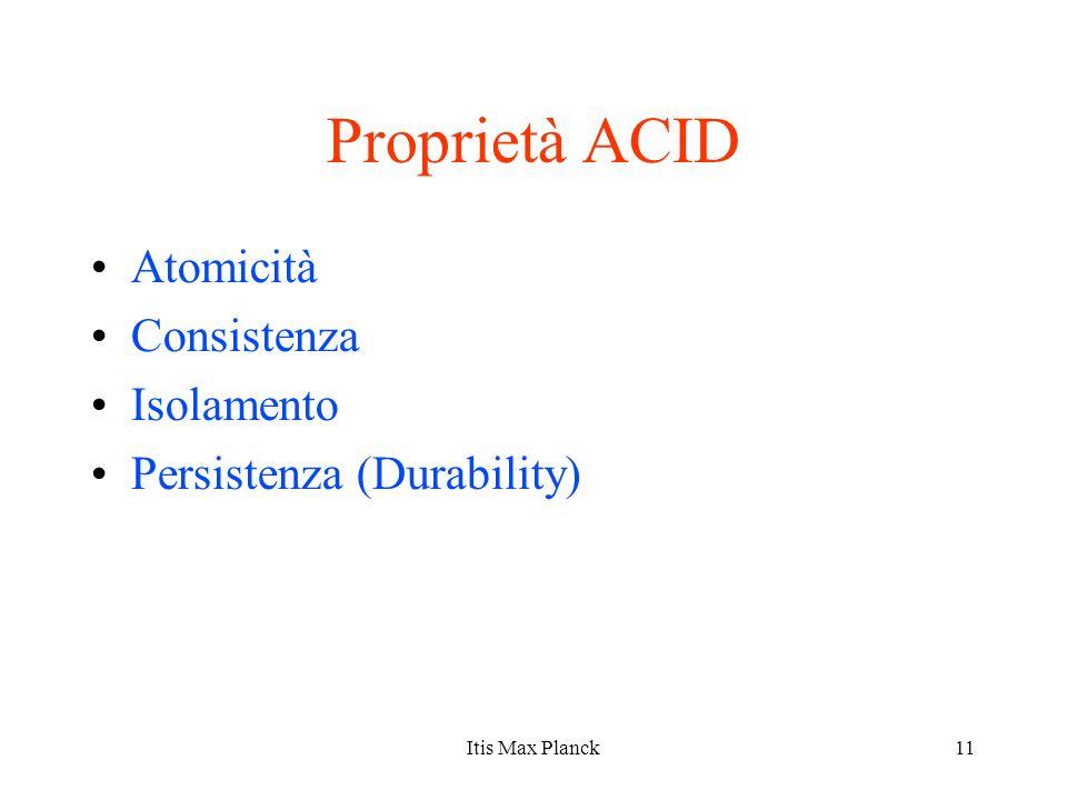 Proprietà ACID Atomicità Consistenza Isolamento