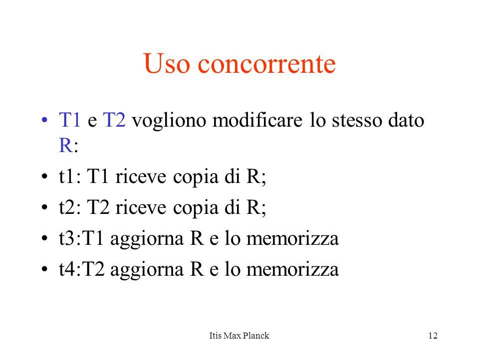 Uso concorrente T1 e T2 vogliono modificare lo stesso dato R: