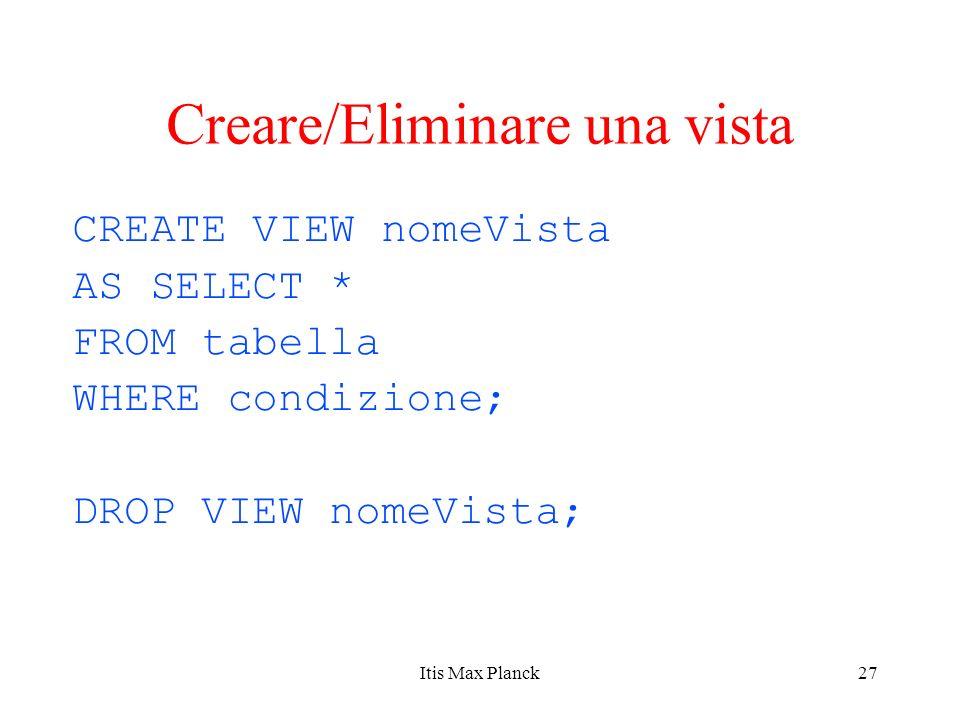 Creare/Eliminare una vista