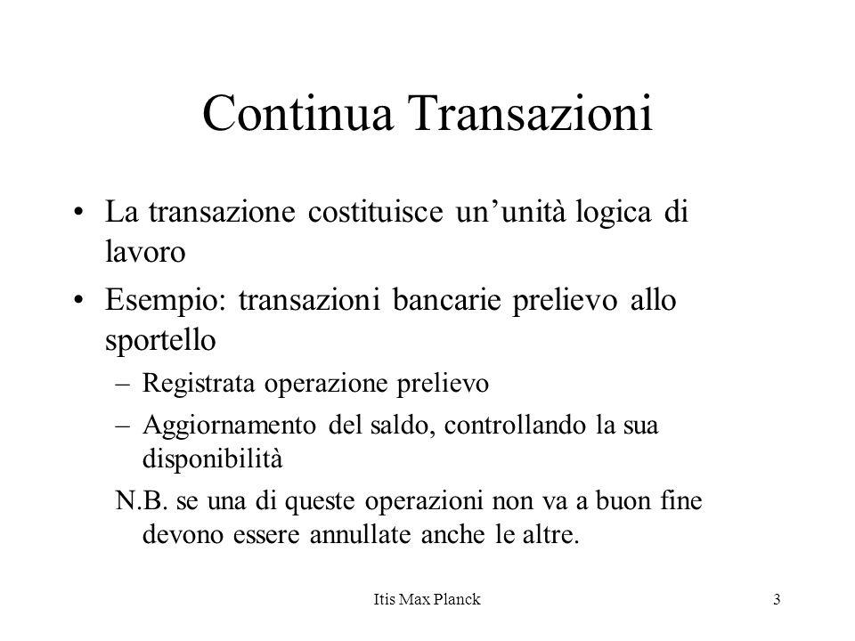 Continua Transazioni La transazione costituisce un'unità logica di lavoro. Esempio: transazioni bancarie prelievo allo sportello.
