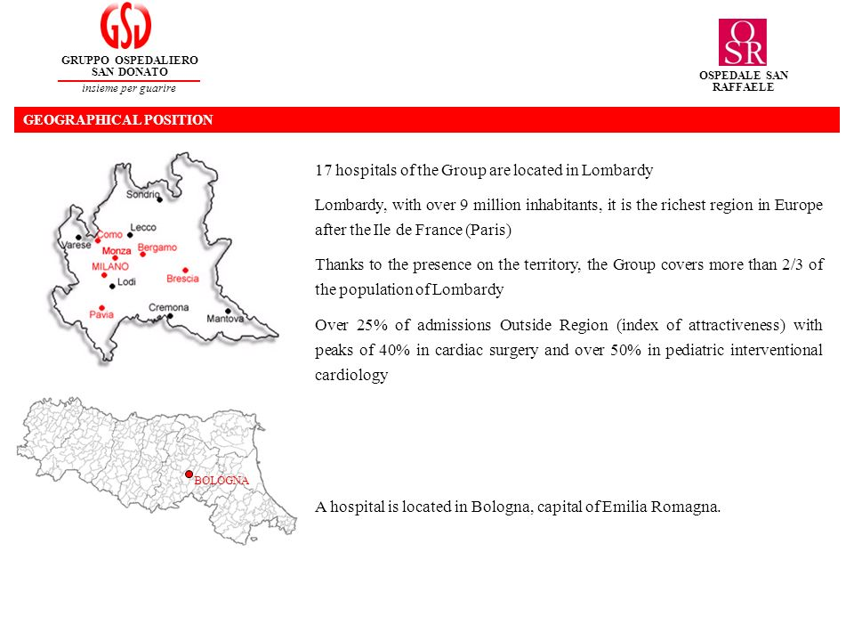 17 hospitals of the Group are located in Lombardy