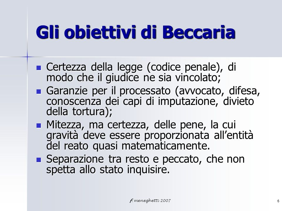 Gli obiettivi di Beccaria