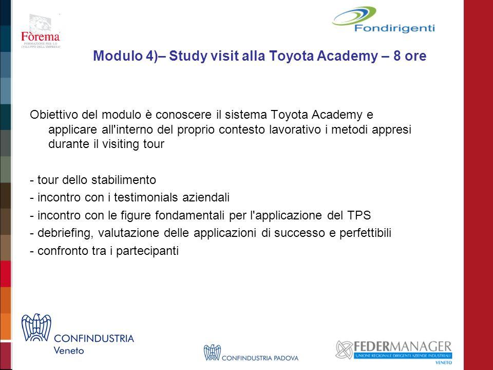 Modulo 4)– Study visit alla Toyota Academy – 8 ore