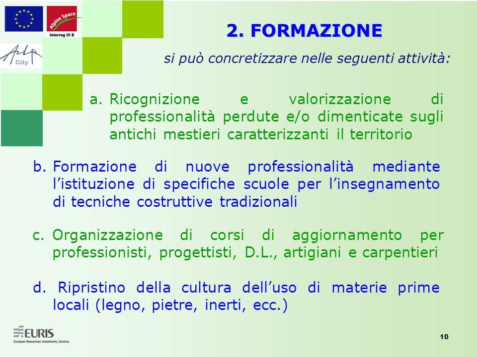 2. FORMAZIONE si può concretizzare nelle seguenti attività: