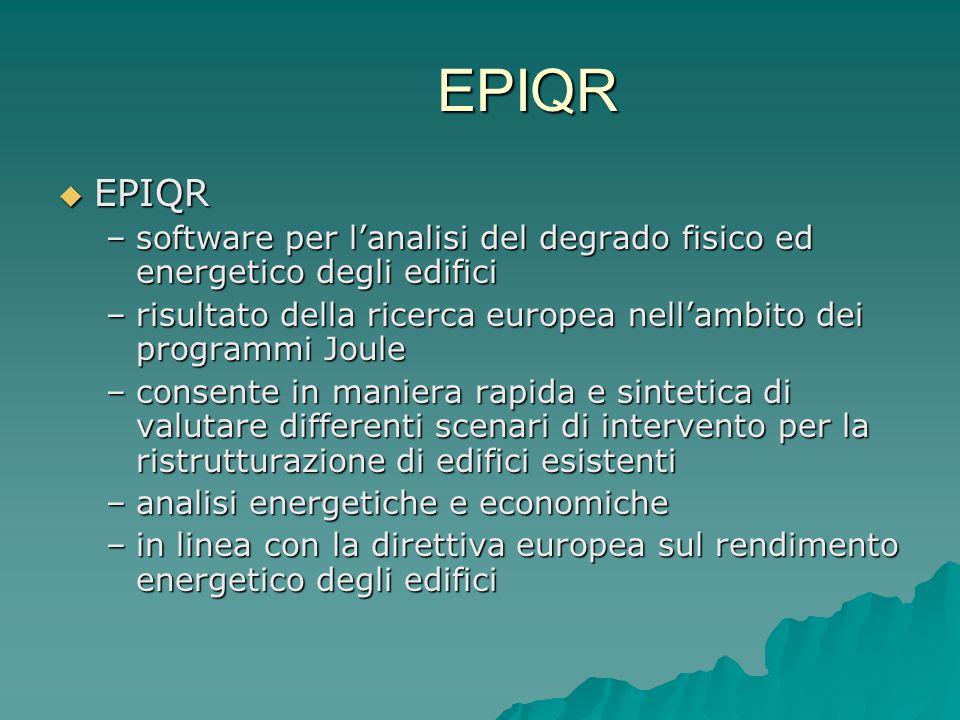 EPIQR EPIQR. software per l'analisi del degrado fisico ed energetico degli edifici. risultato della ricerca europea nell'ambito dei programmi Joule.