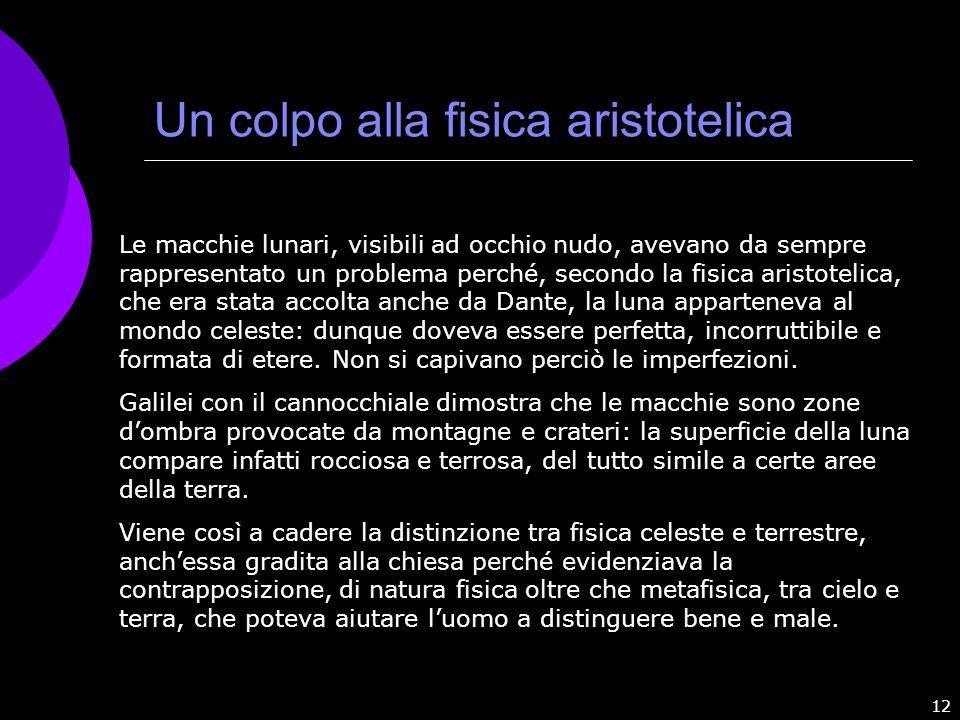 Un colpo alla fisica aristotelica