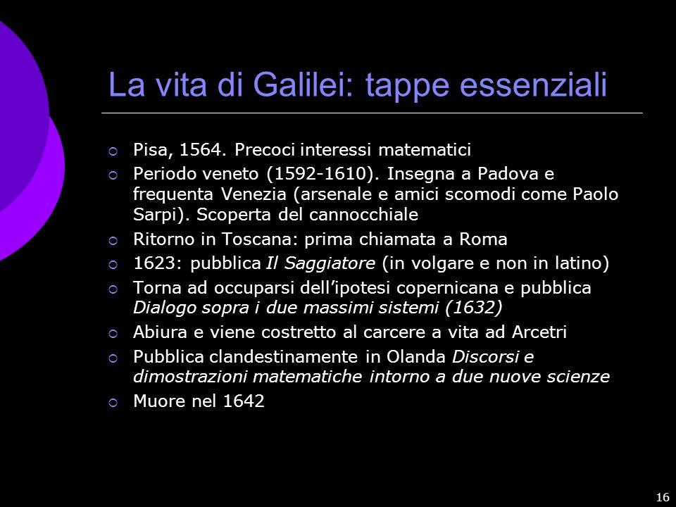 La vita di Galilei: tappe essenziali