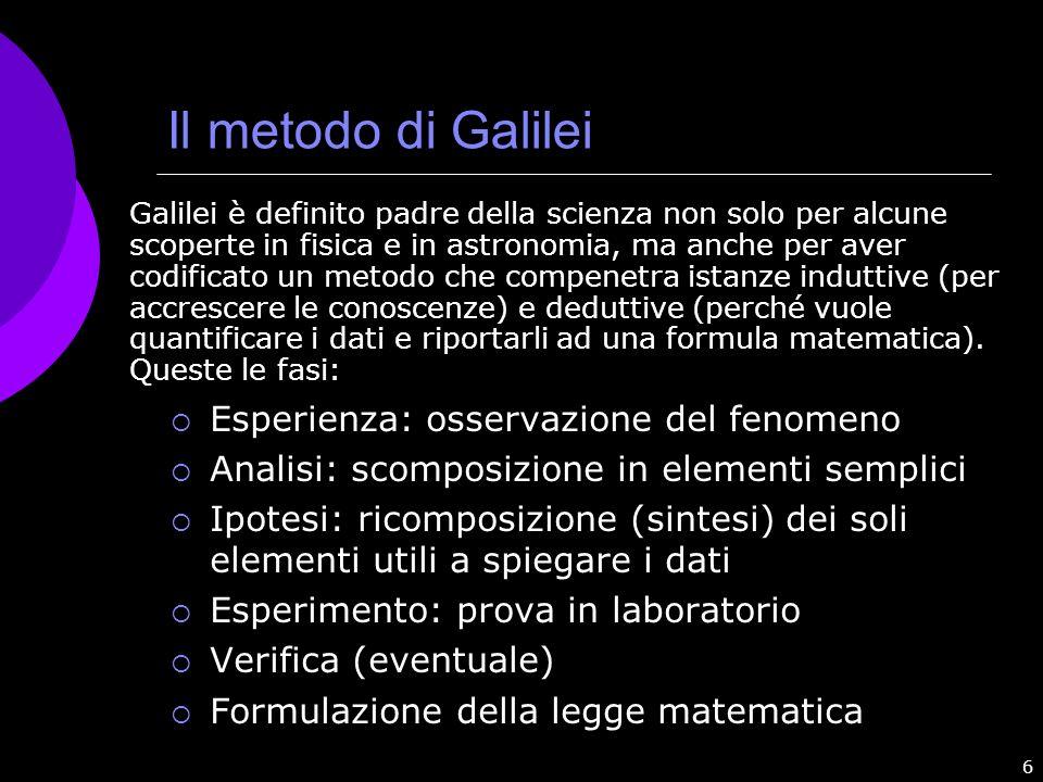 Il metodo di Galilei Esperienza: osservazione del fenomeno
