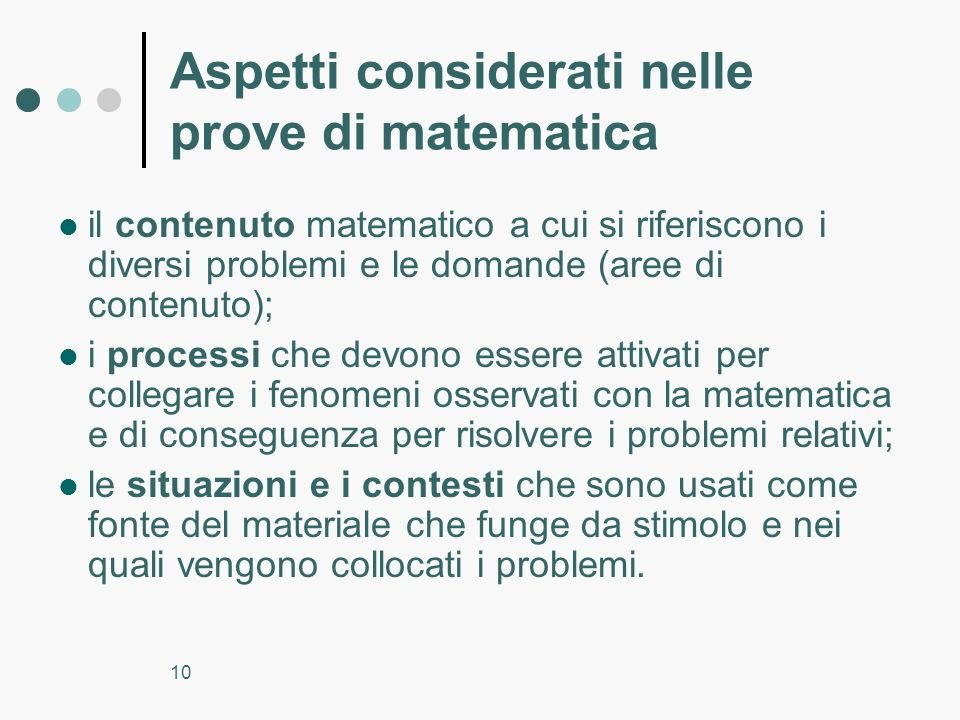 Aspetti considerati nelle prove di matematica