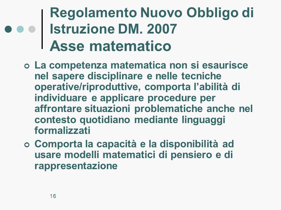 Regolamento Nuovo Obbligo di Istruzione DM. 2007 Asse matematico
