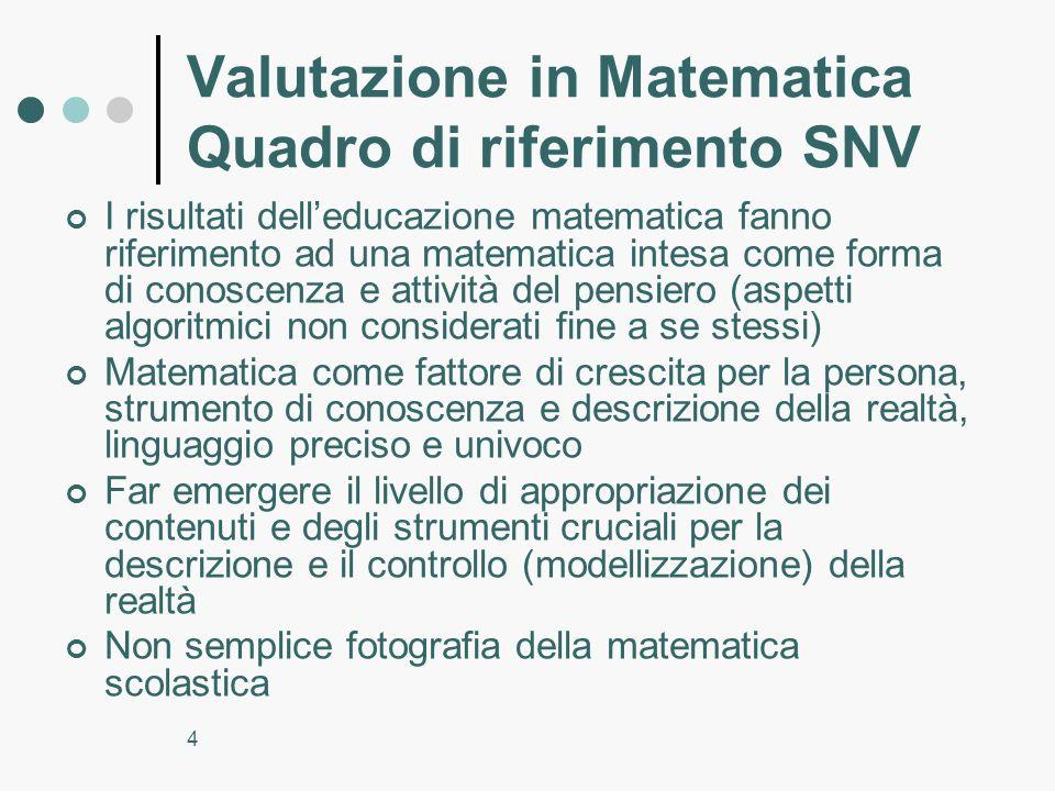Valutazione in Matematica Quadro di riferimento SNV