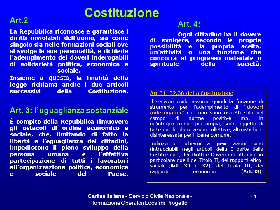 Costituzione Art.2 Art. 4: Art. 3: l'uguaglianza sostanziale