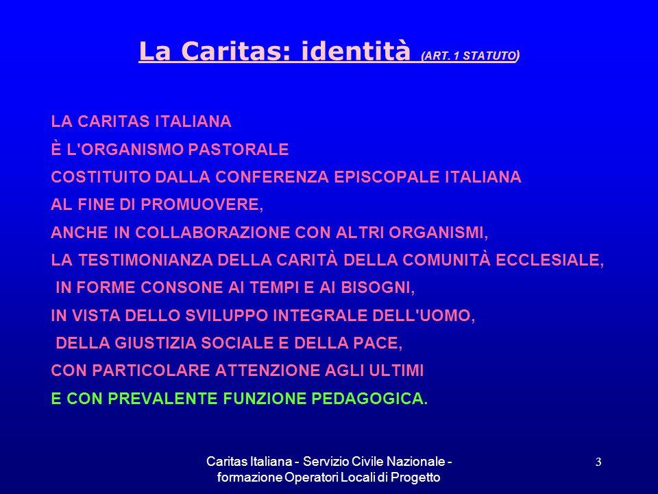 La Caritas: identità (ART. 1 STATUTO)