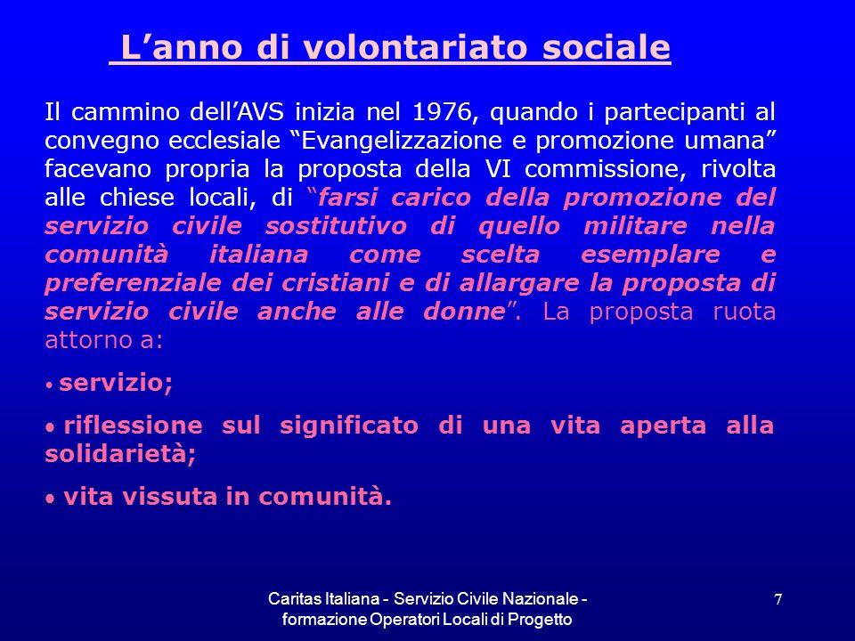 L'anno di volontariato sociale