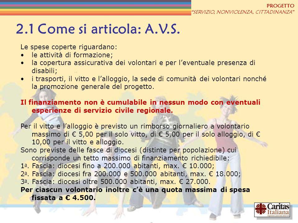 2.1 Come si articola: A.V.S. Le spese coperte riguardano: