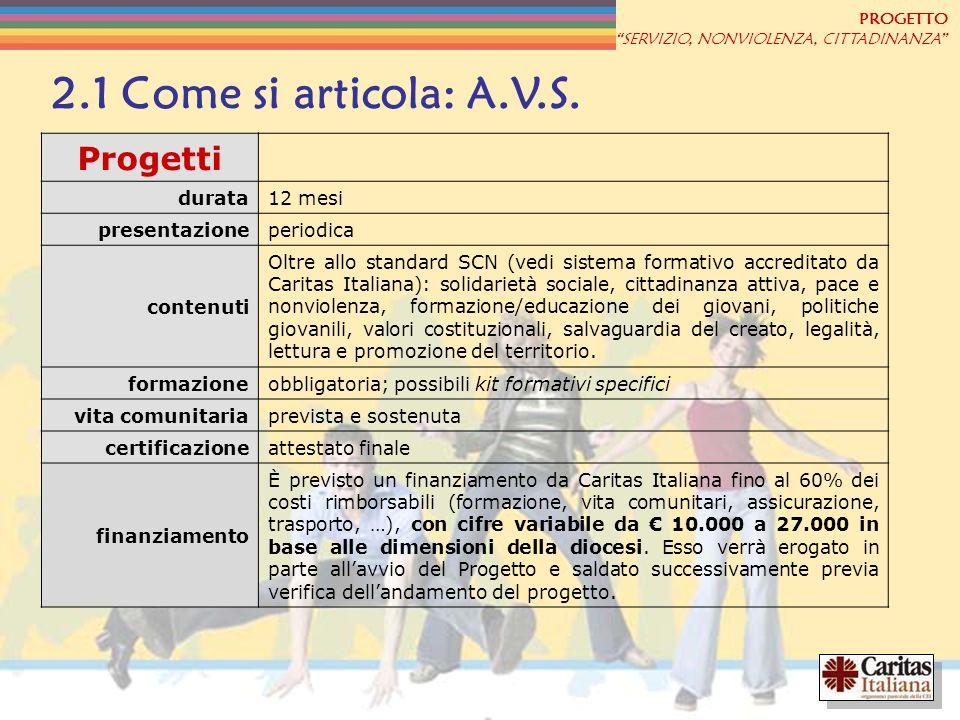 2.1 Come si articola: A.V.S. Progetti durata 12 mesi presentazione