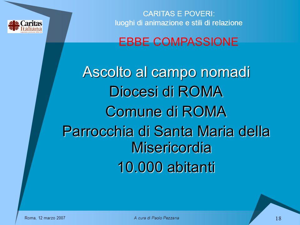 Ascolto al campo nomadi Diocesi di ROMA Comune di ROMA