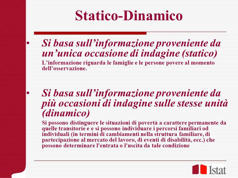 Statico-Dinamico Si basa sull'informazione proveniente da un'unica occasione di indagine (statico)