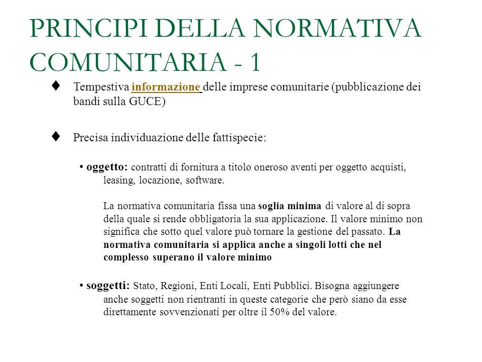 PRINCIPI DELLA NORMATIVA COMUNITARIA - 1