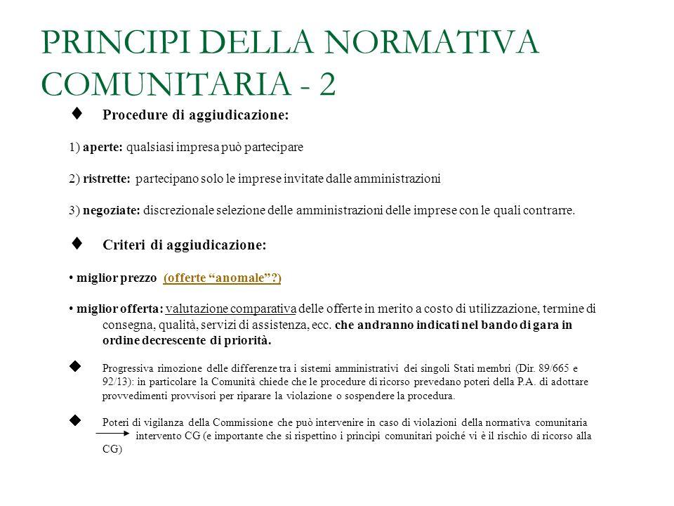 PRINCIPI DELLA NORMATIVA COMUNITARIA - 2