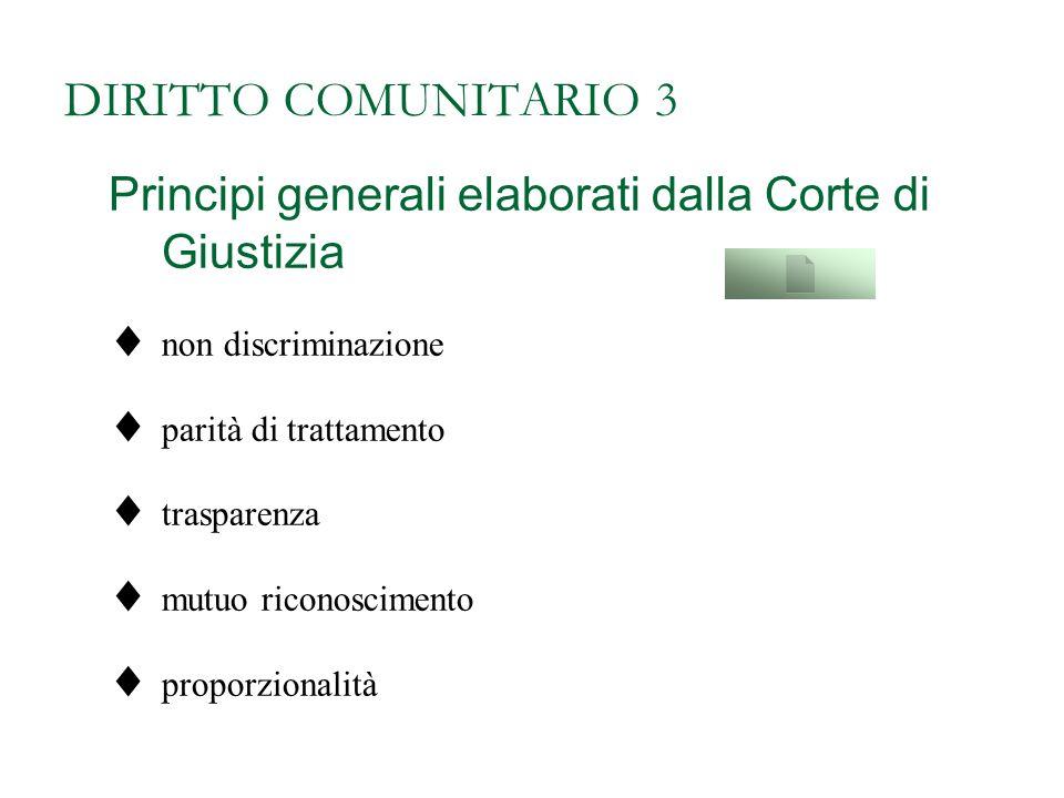 DIRITTO COMUNITARIO 3 Principi generali elaborati dalla Corte di Giustizia. non discriminazione. parità di trattamento.