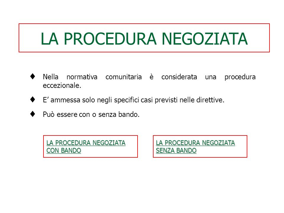 LA PROCEDURA NEGOZIATA