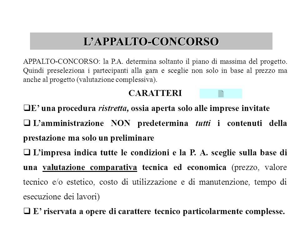 L'APPALTO-CONCORSO CARATTERI